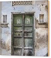 Green Door Wood Print by Catherine Arnas