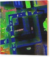 Green Geometric Spots Wood Print by Mario Perez