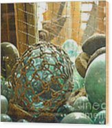 Green Glass Japanese Glass Floats Wood Print by Artist and Photographer Laura Wrede