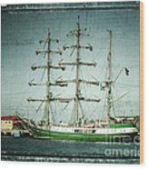 Green Sail Wood Print by Perry Webster