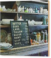 Groceries In General Store Wood Print by Susan Savad