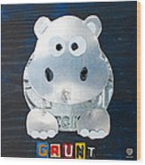 Grunt The Hippo License Plate Art Wood Print by Design Turnpike