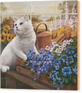 Guardian Of The Greenhouse Wood Print by Evie Cook