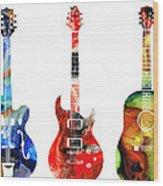 Guitar Threesome - Colorful Guitars By Sharon Cummings Wood Print by Sharon Cummings