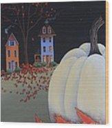 Halloween On Pumpkin Hill Wood Print by Catherine Holman