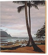Hanalei Bay Hammock At Dawn Wood Print by Kathy Yates