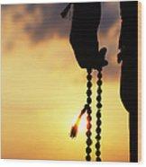 Hand Holding Rudraksha Beads Wood Print by Tim Gainey