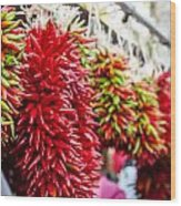 Hanging Chili Pepper Ristras At Farmers Market Wood Print by Teri Virbickis