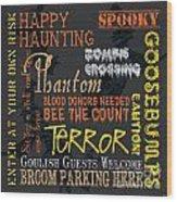Happy Haunting Wood Print by Debbie DeWitt