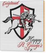 Happy St George Day A Day For England Retro Poster Wood Print by Aloysius Patrimonio