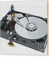 Hard Drive Security Wood Print by Olivier Le Queinec