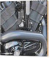 Harley Close-up Engine Close-up 1 Wood Print by Anita Burgermeister
