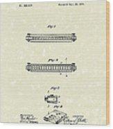 Harmonica 1876 Patent Art Wood Print by Prior Art Design