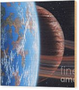 Hd 177830 B And Moon Wood Print by Lynette Cook