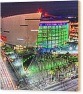 Hdr Of American Airlines Arena Wood Print by Joe Myeress