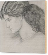 Head Of A Woman Wood Print by Dante Gabriel Charles Rossetti