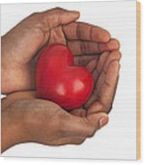Heart In Hands Wood Print by Chevy Fleet
