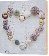 Heart Of Seashells And Rocks Wood Print by Elena Elisseeva