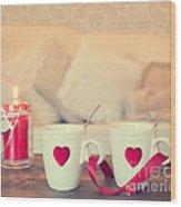Heart Teacups Wood Print by Amanda Elwell