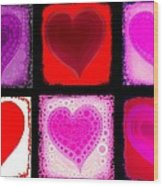 Hearts Wood Print by Cindy Edwards