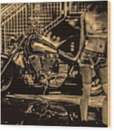 Her Bike Wood Print by Bob Orsillo