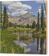 Hesperus Mountain Reflection Wood Print by Aaron Spong