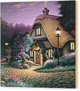 Hillcrest Cottage Wood Print by Steve Read