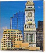 Historic Custom House Clock Tower - Boston Skyline Wood Print by Mark E Tisdale