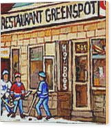 Hockey And Hotdogs At The Greenspot Diner Montreal Hockey Art Paintings Winter City Scenes Wood Print by Carole Spandau