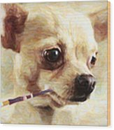 Hollywood Fifi Chika Chihuahua - Painterly Wood Print by Wingsdomain Art and Photography