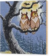 Hooty Whos There Wood Print by Richard De Wolfe