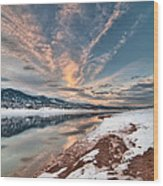 Horsetooth Sunset Hdr Wood Print by Preston Broadfoot