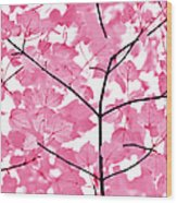 Hot Pink Leaves Melody Wood Print by Jennie Marie Schell