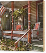 House - Porch - Traditional American Wood Print by Mike Savad