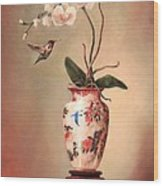 Hummingbird And White Orchid Wood Print by Lori  McNee