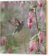 Hummingbird Heaven Wood Print by Angie Vogel