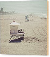 Huntington Beach Lifeguard Tower #1 Vintage Picture Wood Print by Paul Velgos