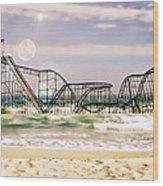 Hurricane Sandy Jetstar Roller Coaster Sun Glare Wood Print by Jessica Cirz
