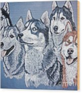Huskies By J. Belter Garfunkel Wood Print by Sheldon Kralstein