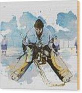 Ice Hockey Wood Print by Corporate Art Task Force