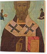 Icon Of St. Nicholas Wood Print by Russian School