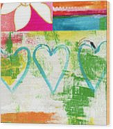In Bloom- Colorful Heart And Flower Art Wood Print by Linda Woods