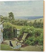 In The Garden Wood Print by Thomas James Lloyd