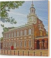 Independence Hall Philadelphia  Wood Print by Tom Gari Gallery-Three-Photography