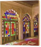 India, Stained Glass Windows Of Fort Wood Print by Bill Bachmann