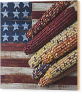 Indian Corn On American Flag Wood Print by Garry Gay