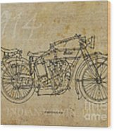 Indian V-twin 1914 Wood Print by Pablo Franchi