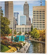 Indianapolis Skyline Picture Of Canal Walk In Autumn Wood Print by Paul Velgos