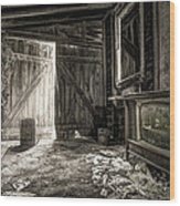 Inside Leo's Apple Barn - The Old Television In The Apple Barn Wood Print by Gary Heller