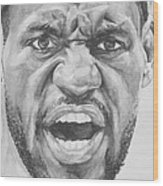 Intensity Lebron James Wood Print by Tamir Barkan